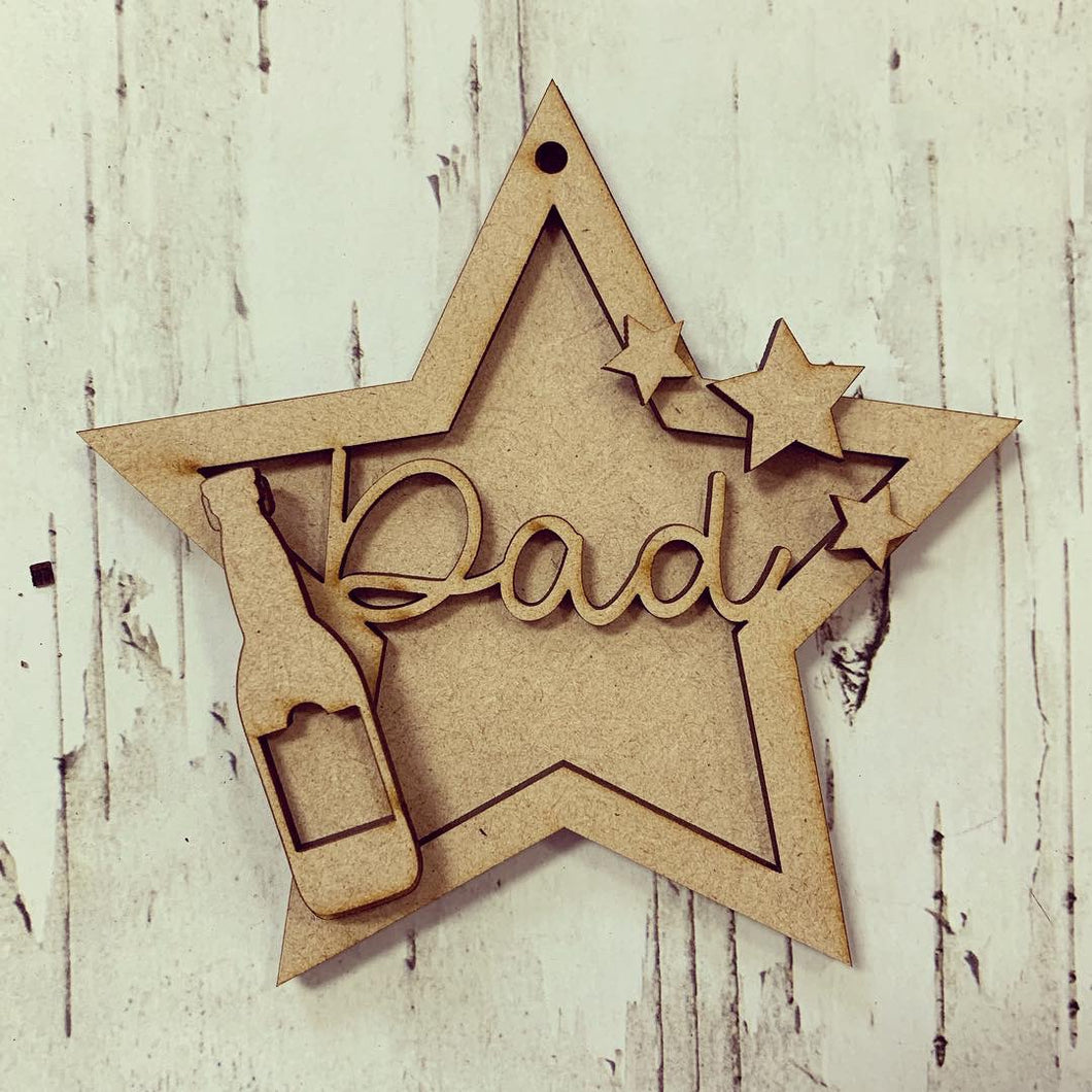 ST001 - MDF Hanging Star - Beer Themed with Choice of Wording - 2 Fonts