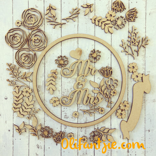 W025 - MDF Floral Mix & Match Wreath - Olifantjie - Wooden - MDF - Lasercut - Blank - Craft - Kit - Mixed Media - UK