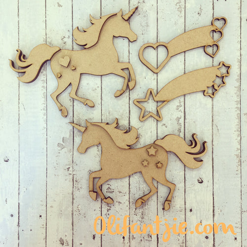 OL230 - MDF Unicorns and Shooting Stars - Set of 2