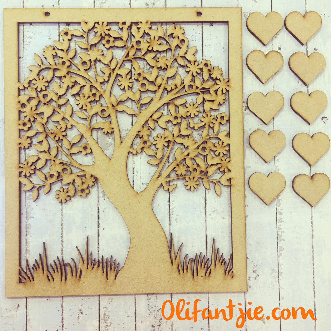 OL073 - MDF Family Tree Plaque Hanging - Plain - Olifantjie - Wooden - MDF - Lasercut - Blank - Craft - Kit - Mixed Media - UK