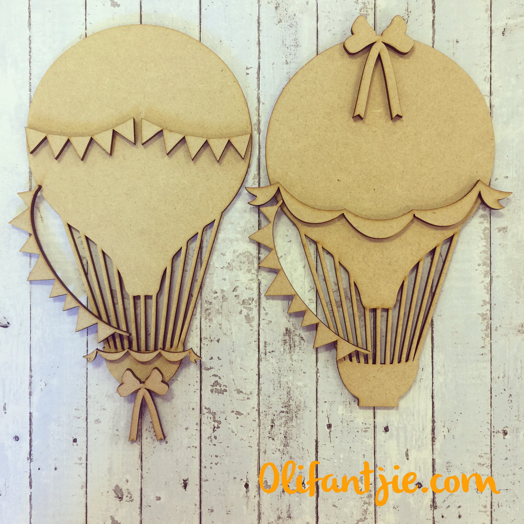 OL102 - MDF Hot Air Balloons - Set of 2 Kits - Olifantjie - Wooden - MDF - Lasercut - Blank - Craft - Kit - Mixed Media - UK