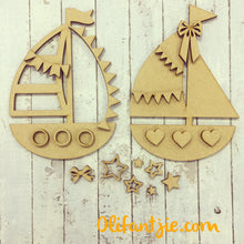 OL168 - MDF Sail Boats - Set of 2 Kits - Olifantjie - Wooden - MDF - Lasercut - Blank - Craft - Kit - Mixed Media - UK