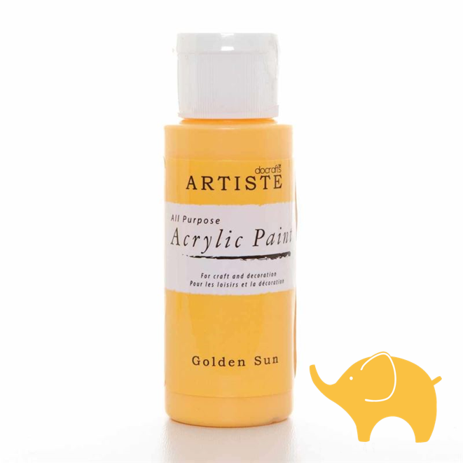 Golden Sun - Artiste Acrylic Paint 2oz - Olifantjie - Wooden - MDF - Lasercut - Blank - Craft - Kit - Mixed Media - UK