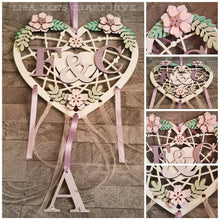 HH001 - MDF Full Floral Hanging Heart Dream Catcher - with Optional Hole(s) - Olifantjie - Wooden - MDF - Lasercut - Blank - Craft - Kit - Mixed Media - UK
