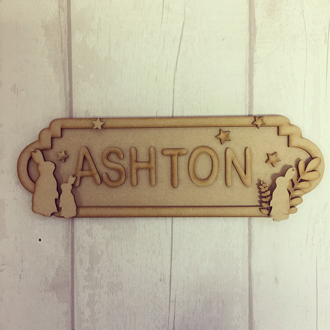 SS018 - MDF Rabbit / Bunny Theme Personalised Street Sign - Medium (8 letters)