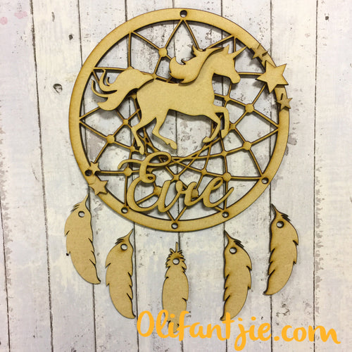 DC002 - MDF Unicorn Dream Catcher- with Initial, Initials, Name or Wording - Olifantjie - Wooden - MDF - Lasercut - Blank - Craft - Kit - Mixed Media - UK