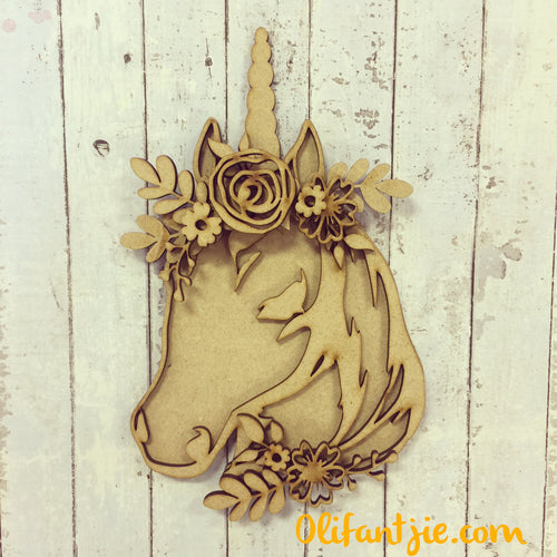 OL228 - MDF Unicorn Head Boho Layered