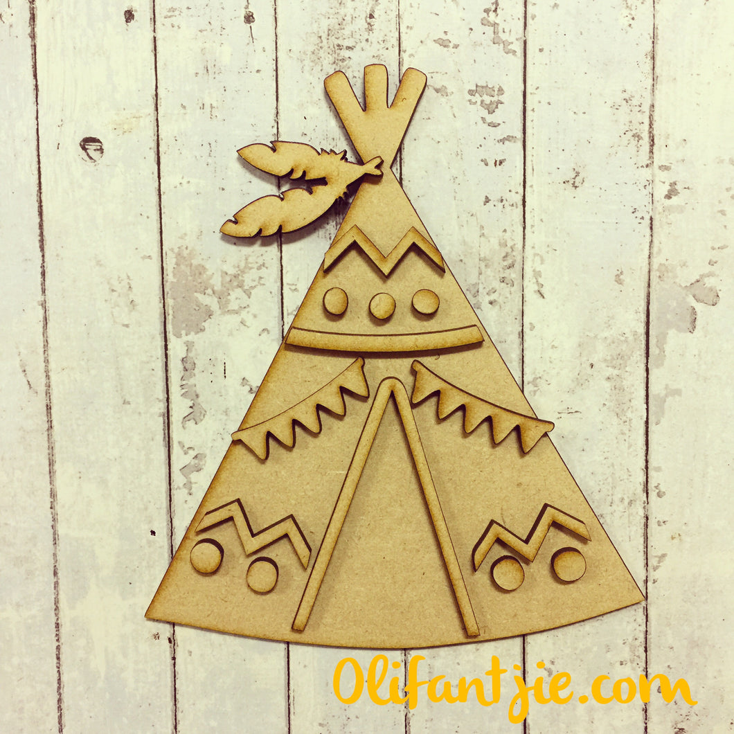 OL238 - MDF Zig Zag and Bunting Teepee - Olifantjie - Wooden - MDF - Lasercut - Blank - Craft - Kit - Mixed Media - UK