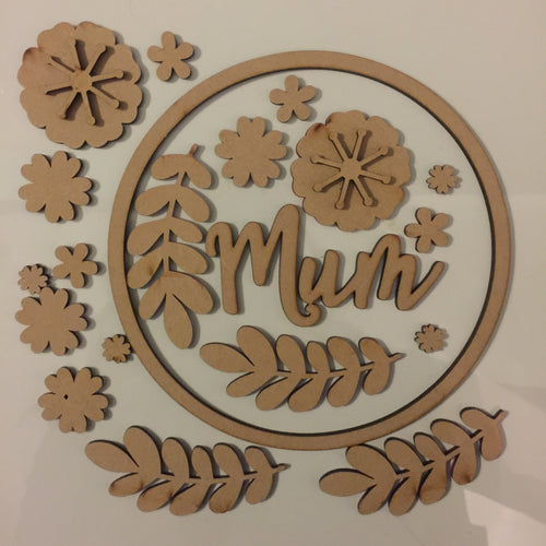 W014 - MDF Mother Floral Wreath - with Initial or Wording - Olifantjie - Wooden - MDF - Lasercut - Blank - Craft - Kit - Mixed Media - UK