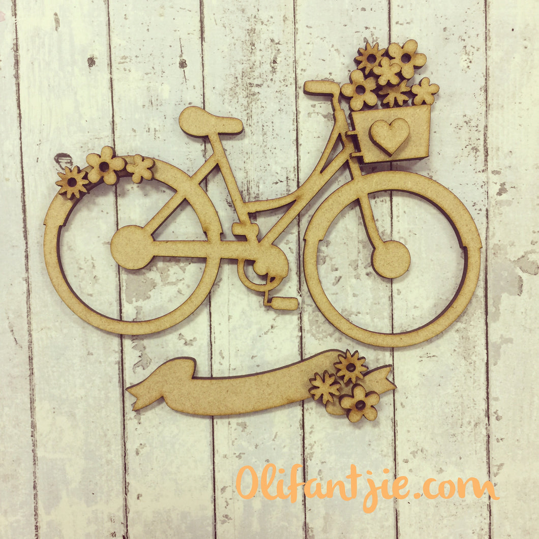 OL011 - MDF Bike with Flowers - Olifantjie - Wooden - MDF - Lasercut - Blank - Craft - Kit - Mixed Media - UK
