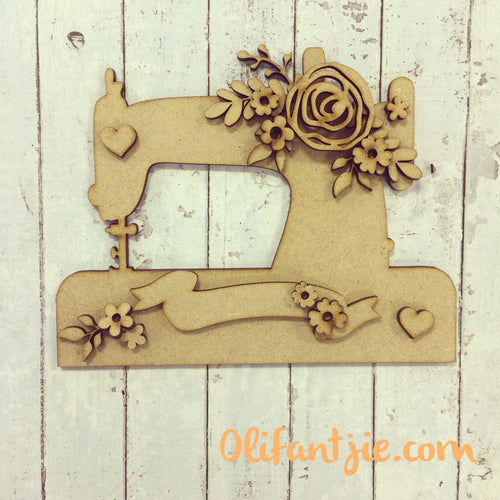 OL232 - MDF Vintage Sewing Machine with Flowers