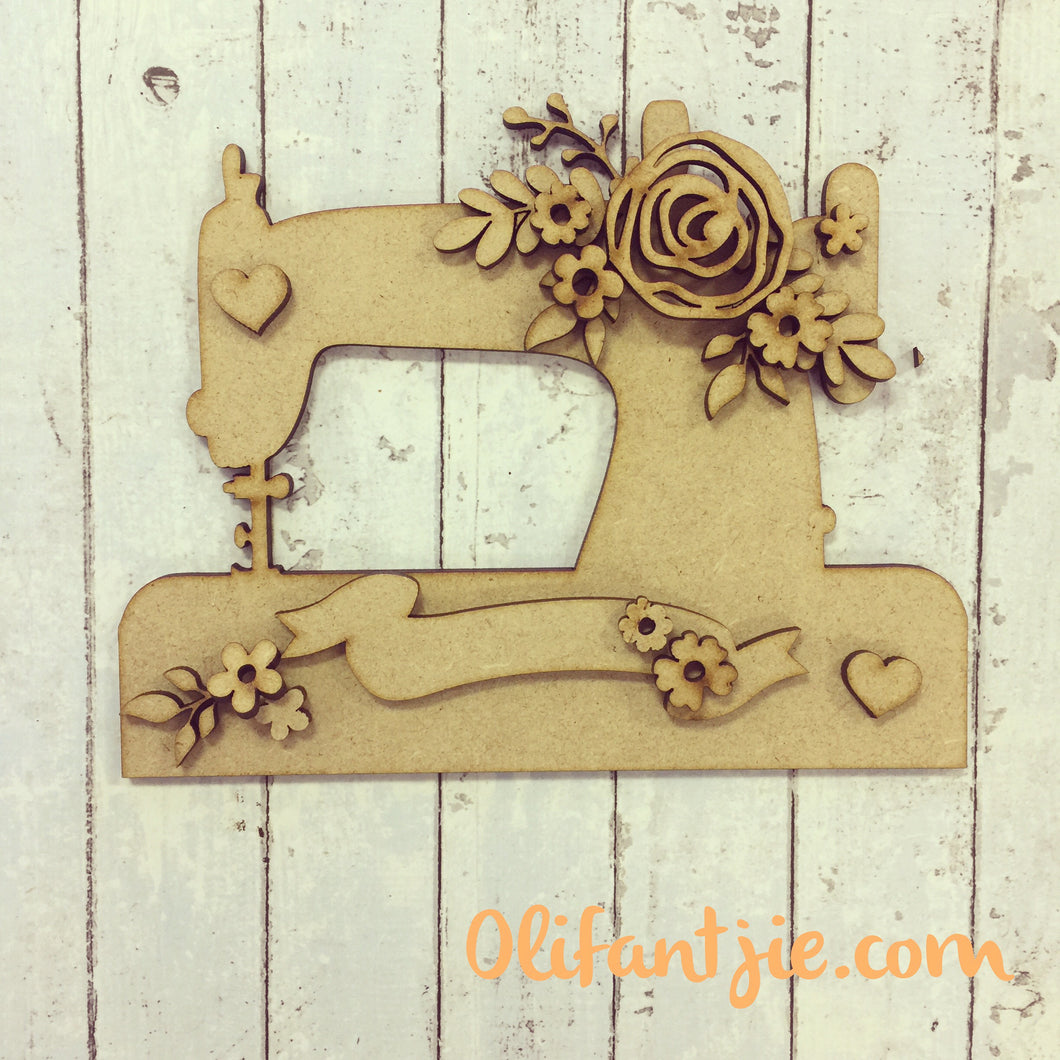 OL232 - MDF Vintage Sewing Machine with Flowers - Olifantjie - Wooden - MDF - Lasercut - Blank - Craft - Kit - Mixed Media - UK