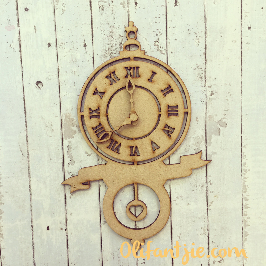 OL089 - MDF Full Clock with Banner - Olifantjie - Wooden - MDF - Lasercut - Blank - Craft - Kit - Mixed Media - UK