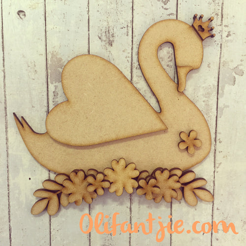 OL218 - MDF Swan Floral Crown Set