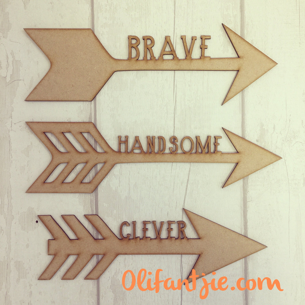 OL175 - MDF Arrows with Wording - Set of 3 - Olifantjie - Wooden - MDF - Lasercut - Blank - Craft - Kit - Mixed Media - UK