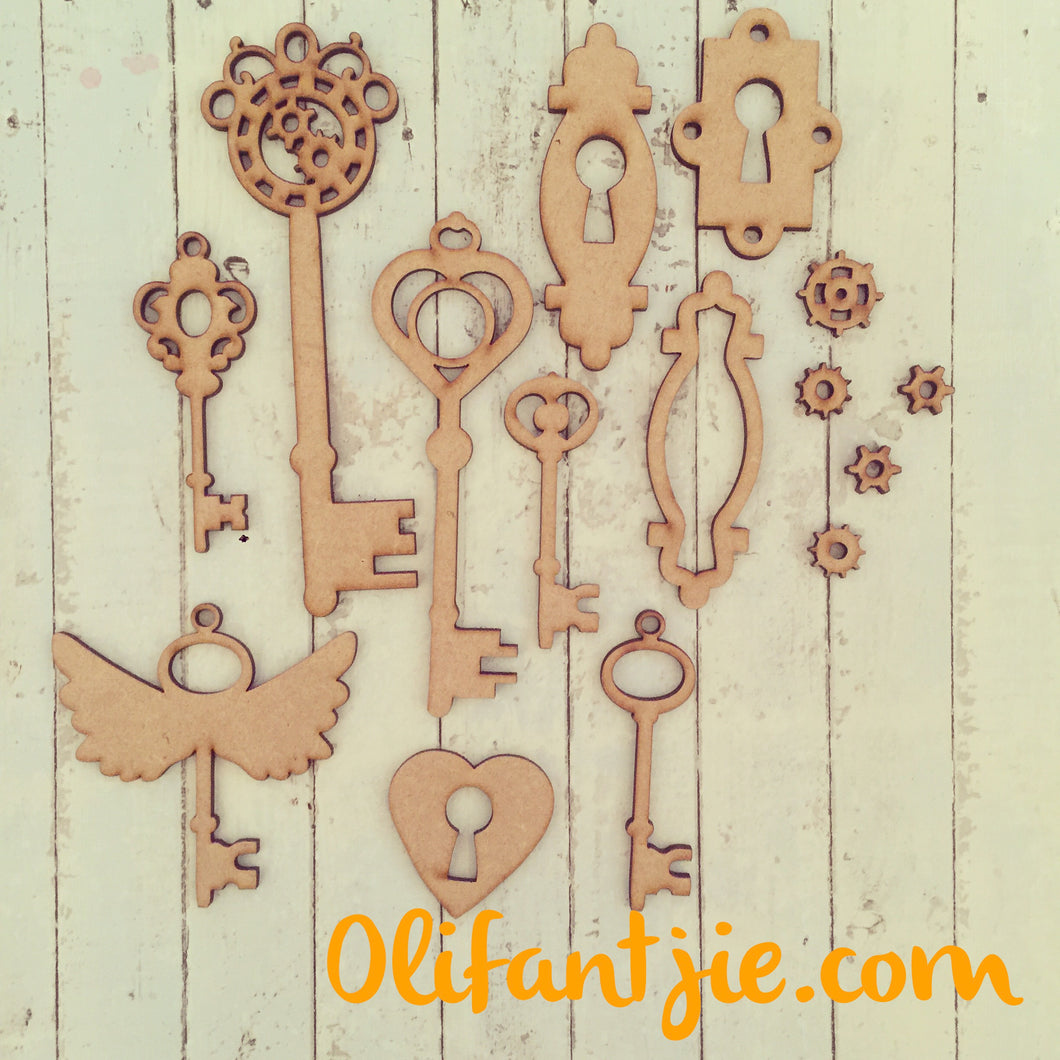 OL210 - MDF Steampunk Style Keys and Locks - Olifantjie - Wooden - MDF - Lasercut - Blank - Craft - Kit - Mixed Media - UK