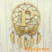 DC015 - MDF Angel Wings Joined Dream Catcher - with Initial, Initials, Name or Wording - Olifantjie - Wooden - MDF - Lasercut - Blank - Craft - Kit - Mixed Media - UK