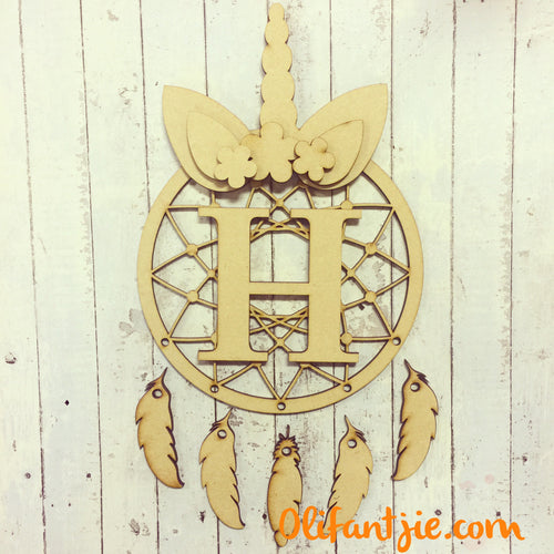 DC001 - MDF Unicorn Ears and Horn Dream Catcher- with Initial, Initials, Name or Wording - Olifantjie - Wooden - MDF - Lasercut - Blank - Craft - Kit - Mixed Media - UK