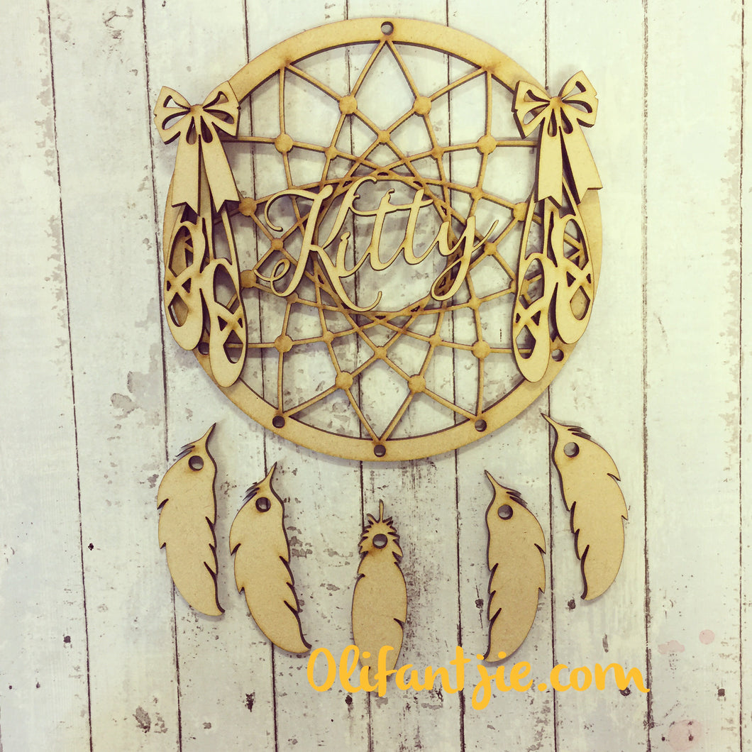 DC010 - MDF Ballet Dream Catcher - with Initial, Initials, Name or Wording - Olifantjie - Wooden - MDF - Lasercut - Blank - Craft - Kit - Mixed Media - UK