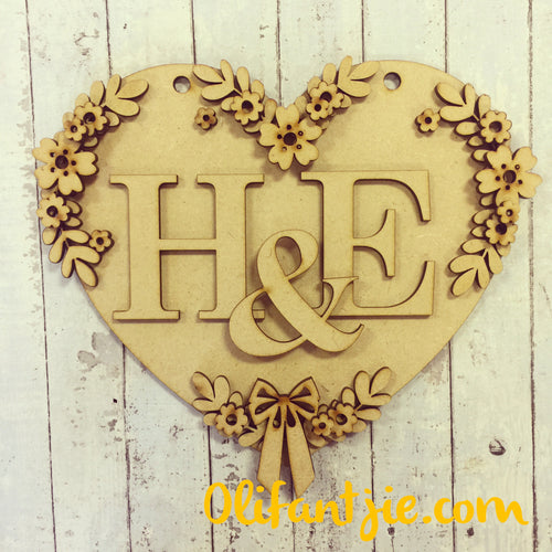 HH009 - MDF Personalised Floral Heart Hanging - Olifantjie - Wooden - MDF - Lasercut - Blank - Craft - Kit - Mixed Media - UK