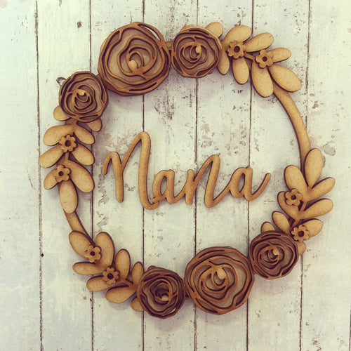W010 - MDF Rose Floral Wreath - with Wording or initials - Olifantjie - Wooden - MDF - Lasercut - Blank - Craft - Kit - Mixed Media - UK