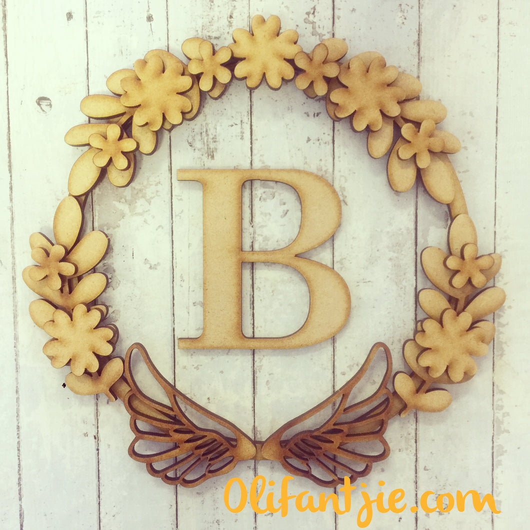 W006 - MDF Floral Wings Wreath - with Initial