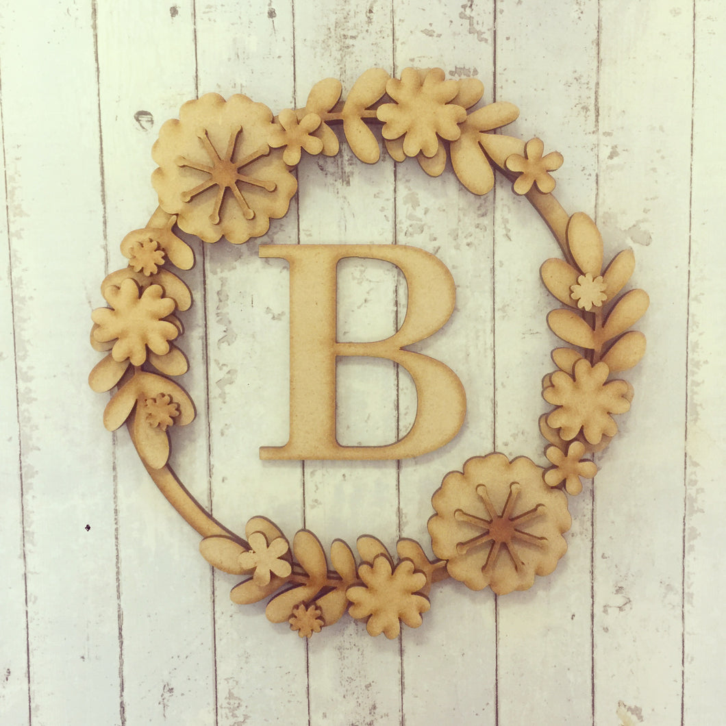 W008 - MDF Simple Floral Wreath - with Initial