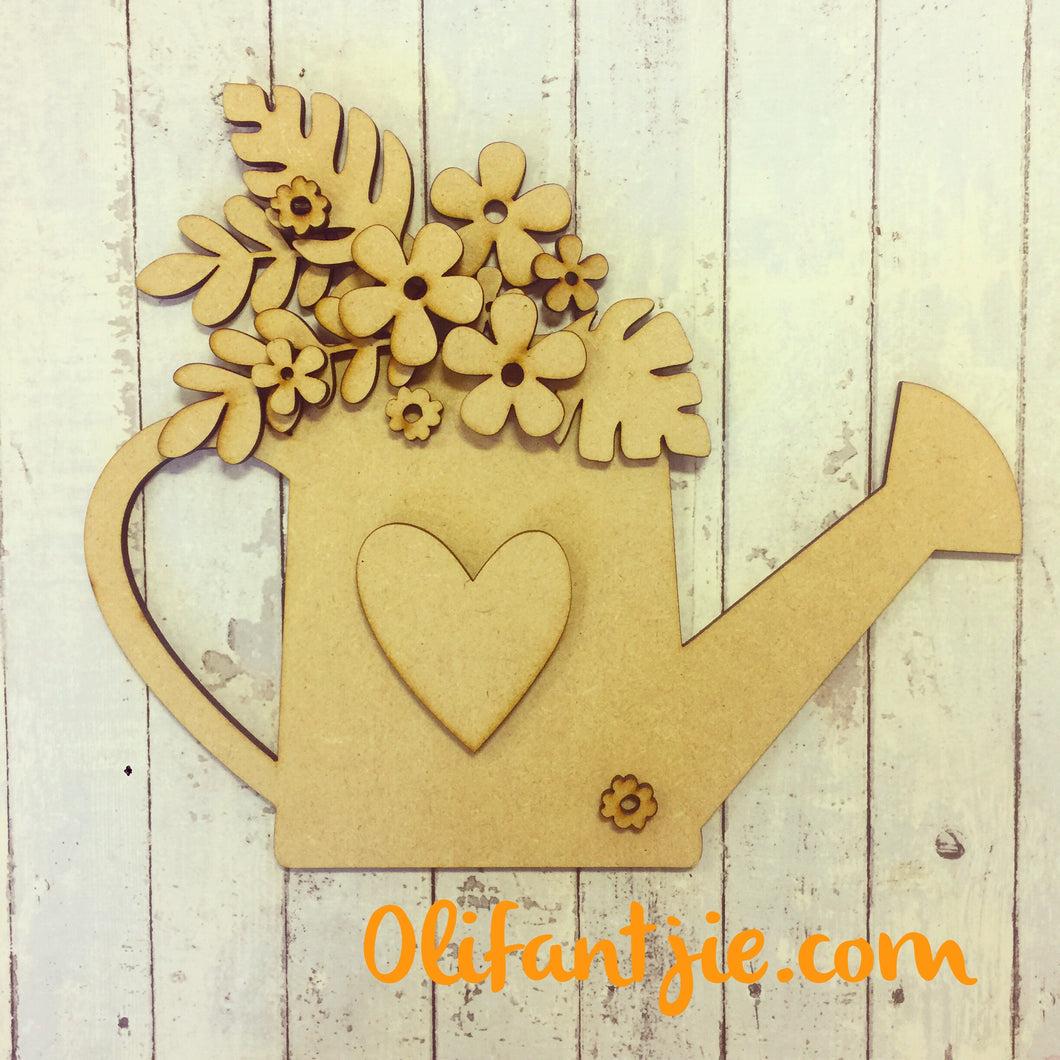 OL233 - MDF Watering Can with Flowers