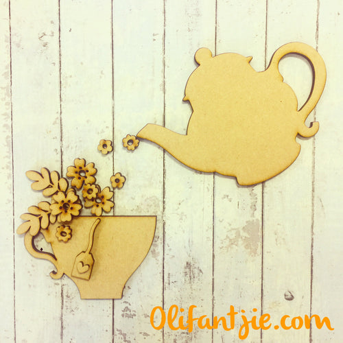 OL222 - MDF Teapot and Teacup with Flowers