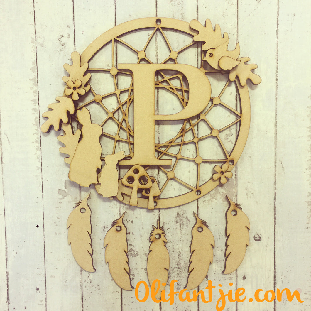 DC013 - MDF Bunnies Dream Catcher - with Initial, Initials, Name or Wording - Olifantjie - Wooden - MDF - Lasercut - Blank - Craft - Kit - Mixed Media - UK