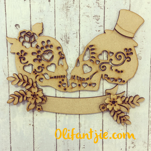OL127 - MDF Mexican Day of Dead Skulls with Flowers - Olifantjie - Wooden - MDF - Lasercut - Blank - Craft - Kit - Mixed Media - UK