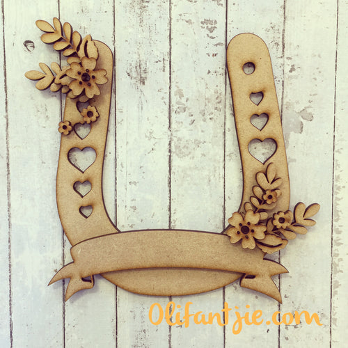OL082 - MDF Floral Horse Shoe - Olifantjie - Wooden - MDF - Lasercut - Blank - Craft - Kit - Mixed Media - UK