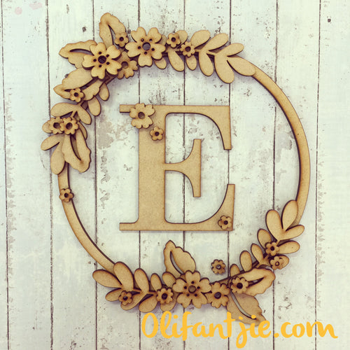 W023 - MDF Initial Wreath with Flowers - Olifantjie - Wooden - MDF - Lasercut - Blank - Craft - Kit - Mixed Media - UK