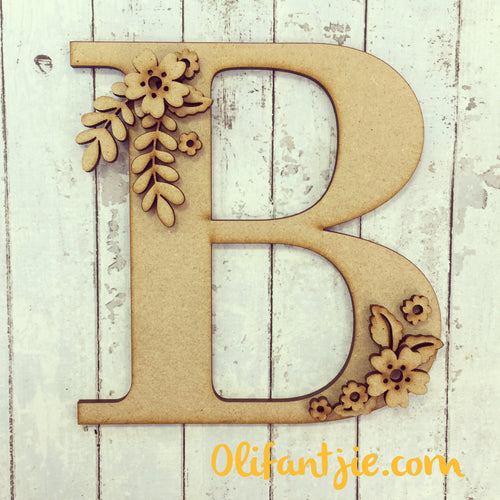 OL083 - MDF Floral Initial - Olifantjie - Wooden - MDF - Lasercut - Blank - Craft - Kit - Mixed Media - UK