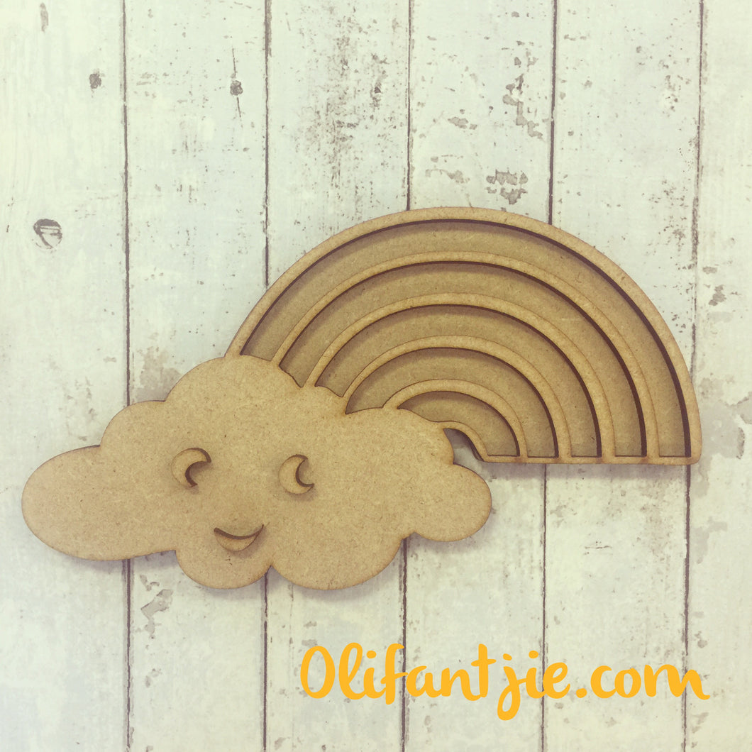 OL160 - MDF Rainbow Cloud - Olifantjie - Wooden - MDF - Lasercut - Blank - Craft - Kit - Mixed Media - UK
