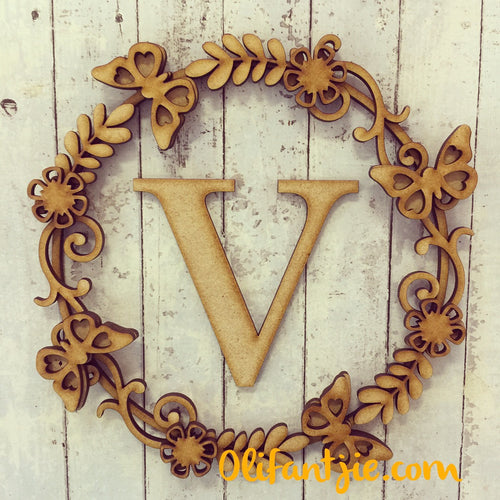 W009 - MDF Butterfly Initial Wreath