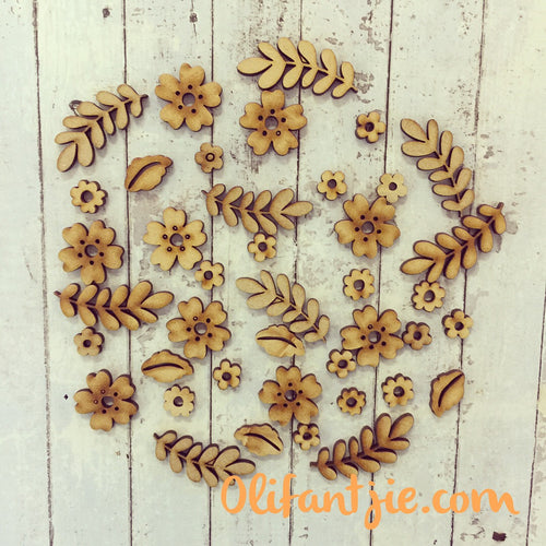 OL172 - MDF Mixed Intricate Flowers - 20g - Olifantjie - Wooden - MDF - Lasercut - Blank - Craft - Kit - Mixed Media - UK