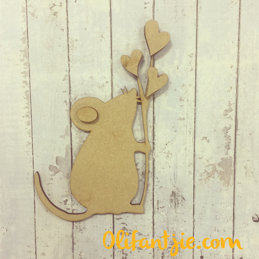 OL219 - MDF Sweet Mouse with Hearts - Olifantjie - Wooden - MDF - Lasercut - Blank - Craft - Kit - Mixed Media - UK