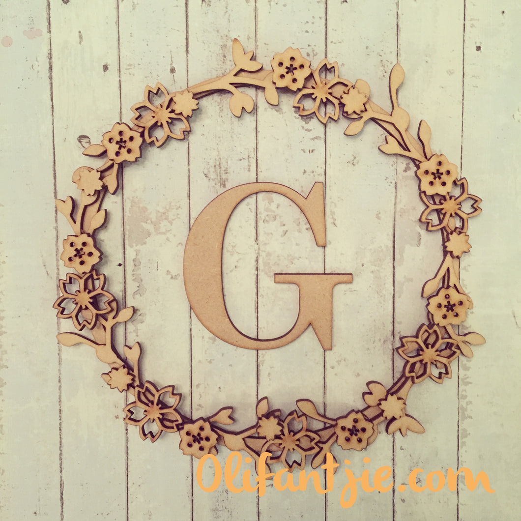 W016 - MDF Cherry Blossom - Initial Wreath - Olifantjie - Wooden - MDF - Lasercut - Blank - Craft - Kit - Mixed Media - UK