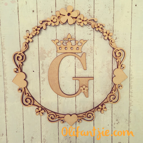 W017 - MDF Retro Flower, Crown & Swirl - Initial Wreath