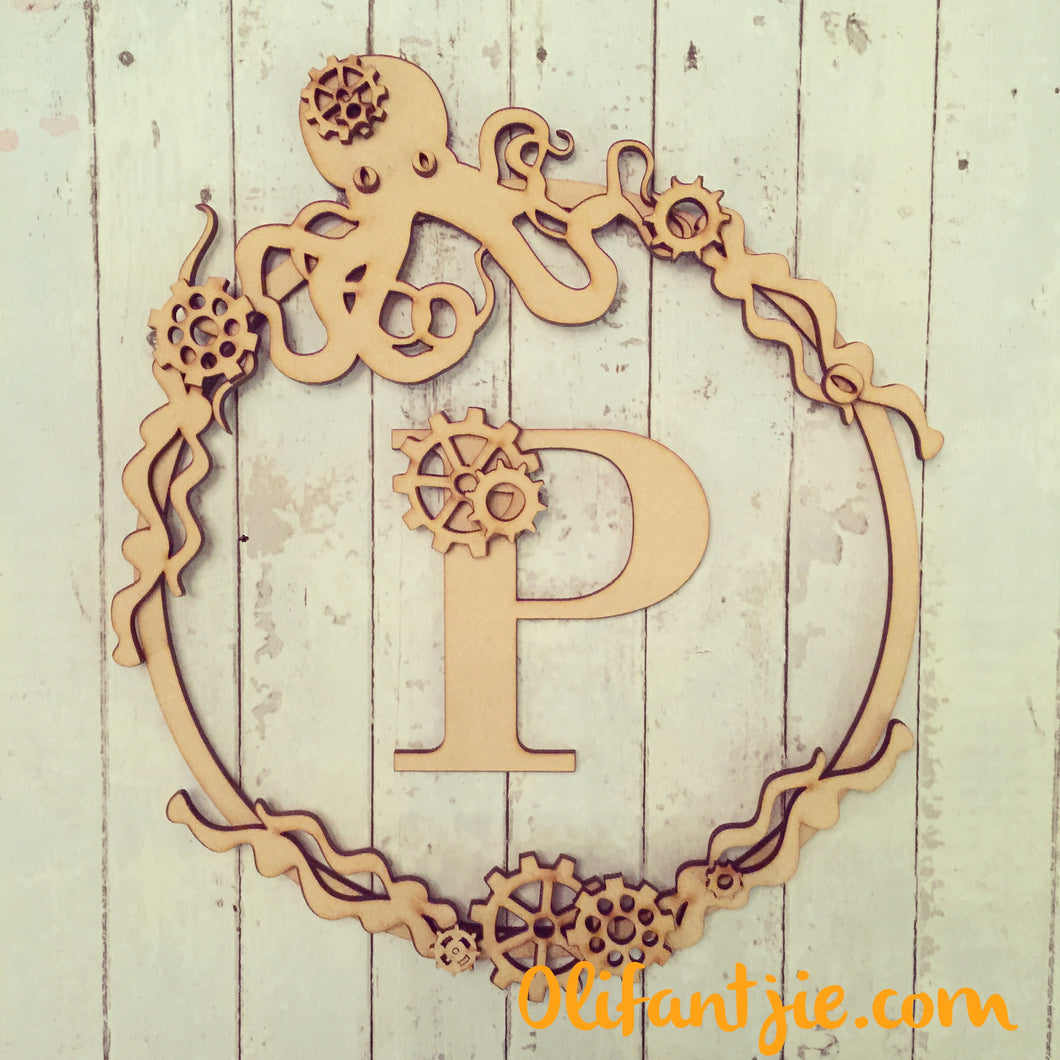 W018 - MDF Steampunk Octopus - Initial Wreath