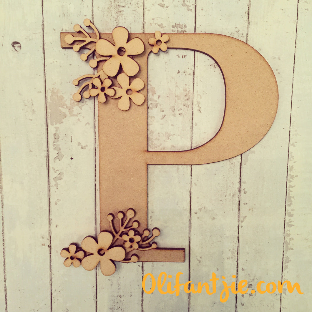 OL166 - MDF Retro Flowers Initial - Olifantjie - Wooden - MDF - Lasercut - Blank - Craft - Kit - Mixed Media - UK