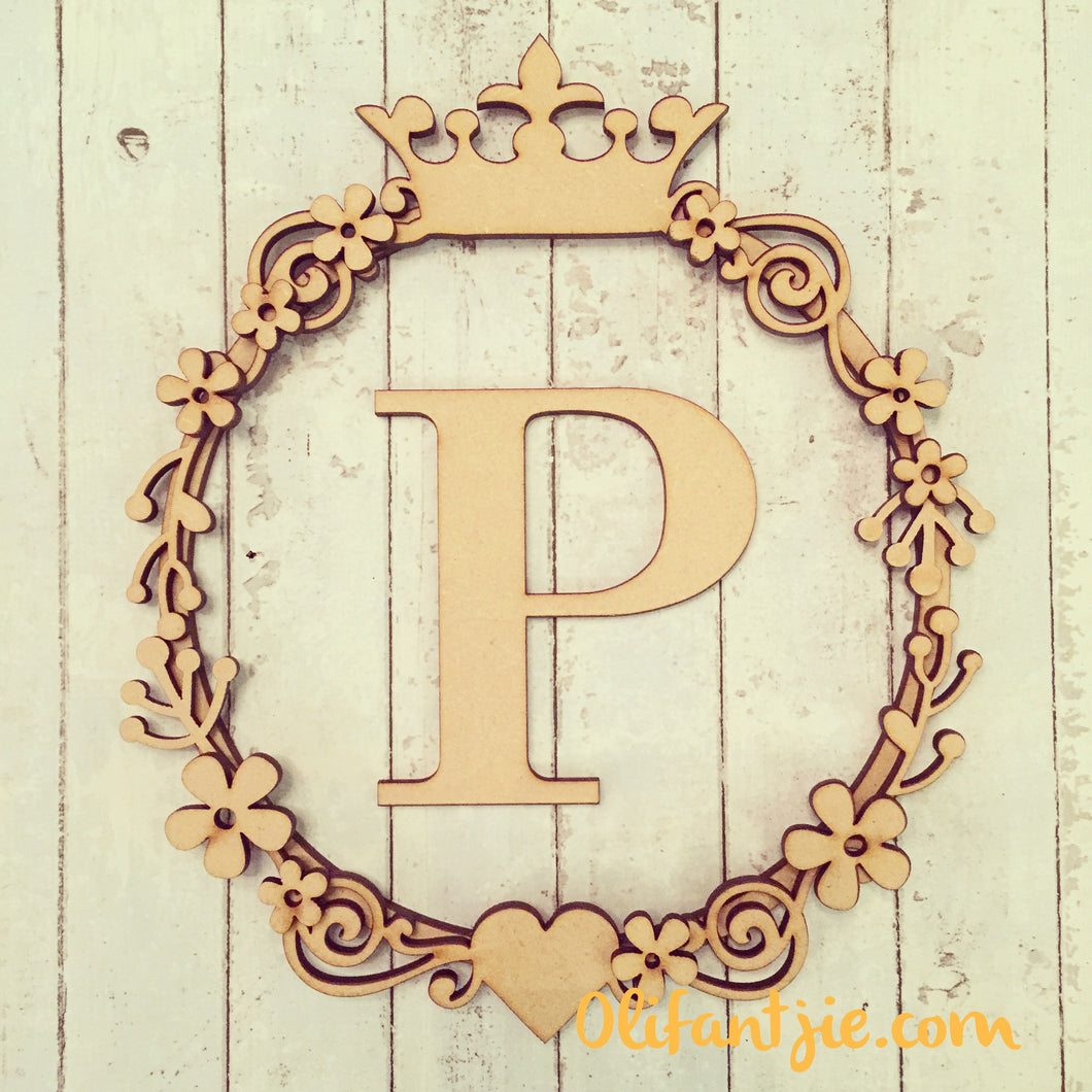 W020 - MDF Retro Flowers, Crown - Initial Swirl Wreath
