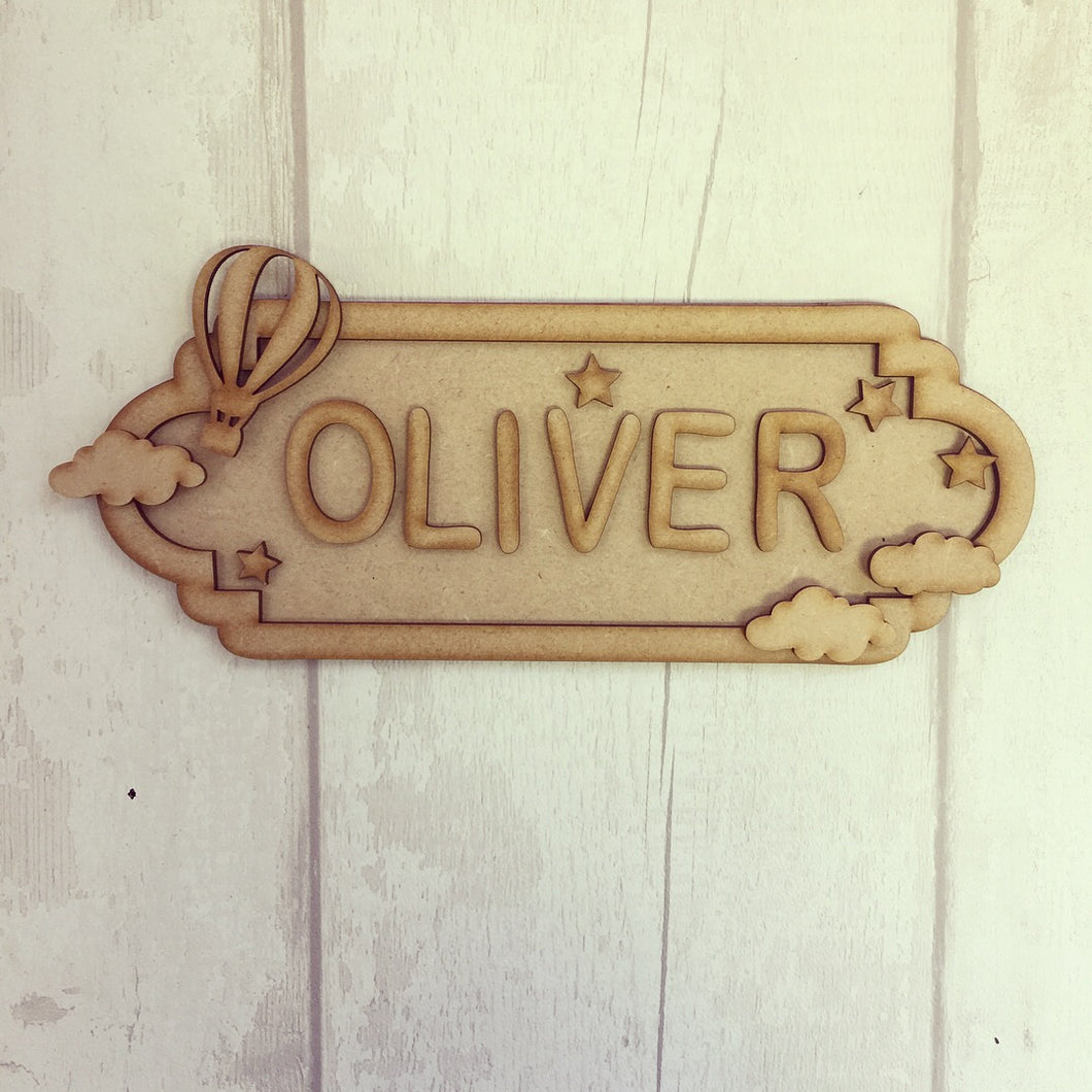 SS013 - MDF Hot Air Balloon Theme Personalised Street Sign - Medium (8 letters)