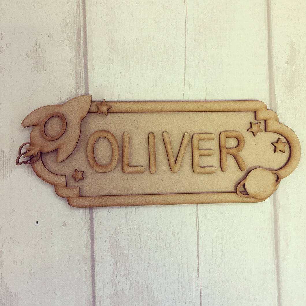 SS021 - MDF Space Theme Personalised Street Sign - Medium (8 letters) - Olifantjie - Wooden - MDF - Lasercut - Blank - Craft - Kit - Mixed Media - UK