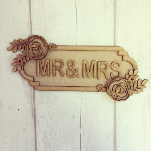 SS019 - MDF Roses Theme Personalised Street Sign - Small (6 letters)