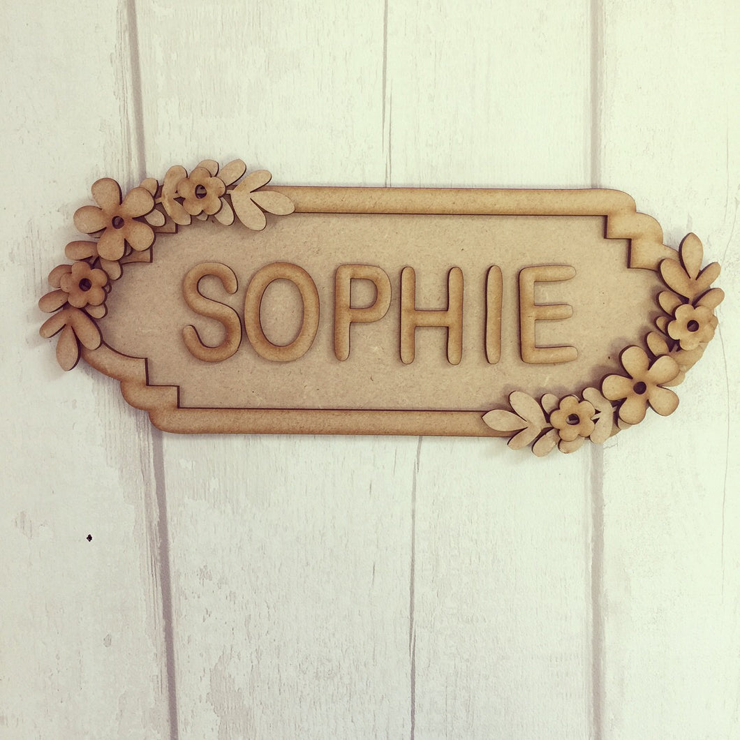 SS008 - MDF Floral Theme Personalised Street Sign - Medium (8 letters)