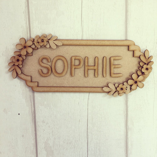 SS008 - MDF Floral Theme Personalised Street Sign - Small (6 letters) - Olifantjie - Wooden - MDF - Lasercut - Blank - Craft - Kit - Mixed Media - UK