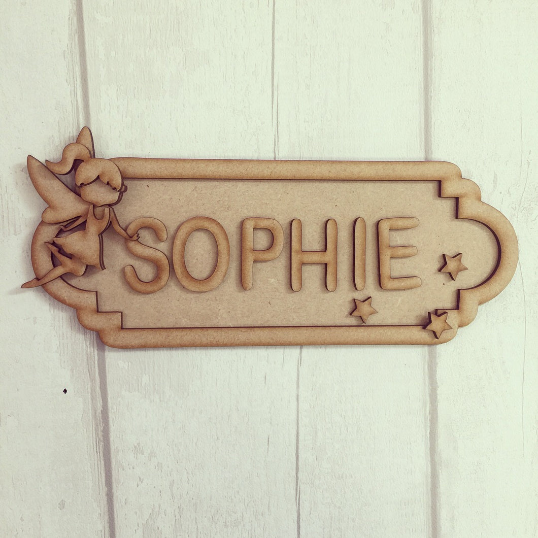 SS007 - MDF Fairy Theme Personalised Street Sign - Small (6 letters) - Olifantjie - Wooden - MDF - Lasercut - Blank - Craft - Kit - Mixed Media - UK