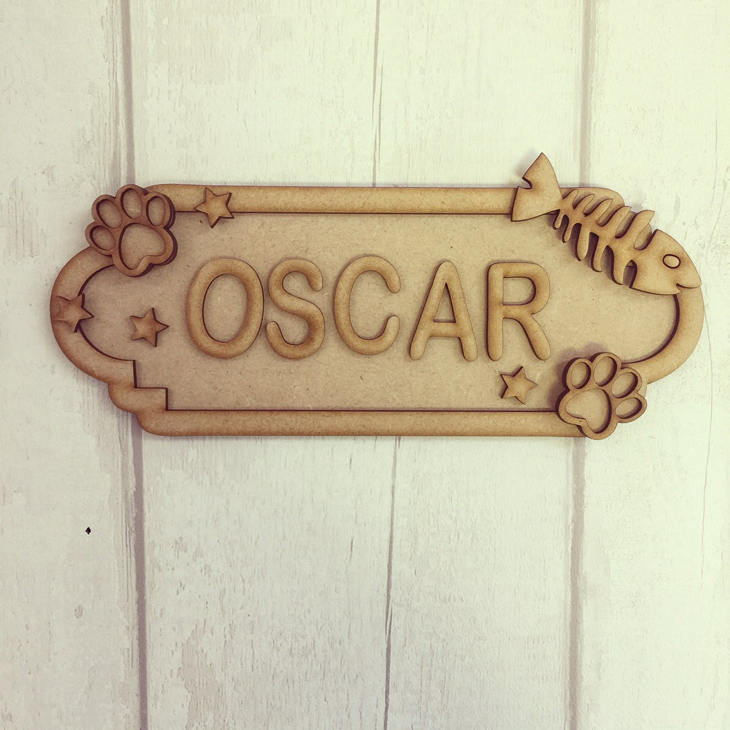 SS004 - MDF Cat Personalised Street Sign - Medium (8 letters)